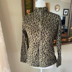Old Navy Active Green Leopard Athletic Jacket